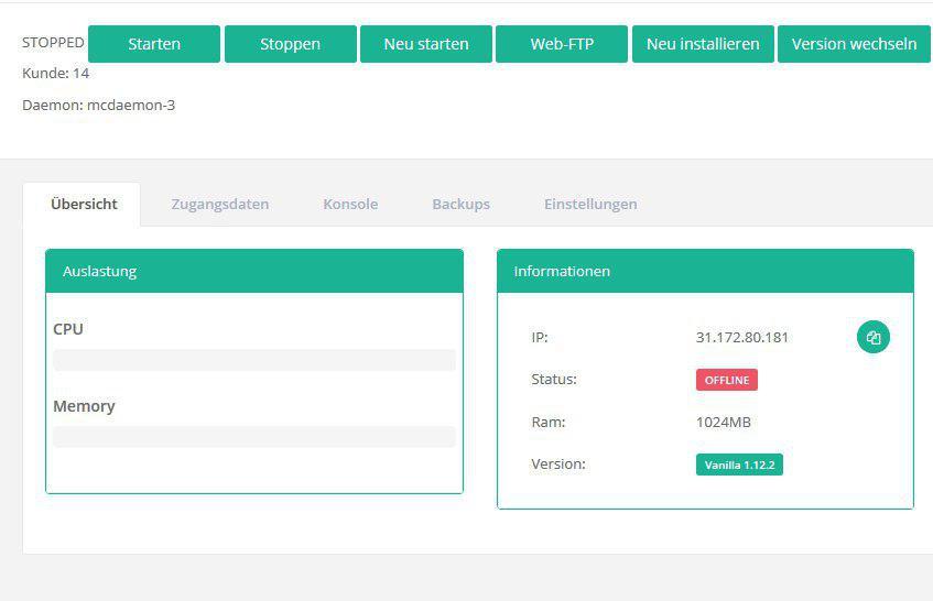 Webinterface Control Panel LivingBots - Minecraft server webinterface erstellen
